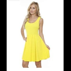 White Mark Crystals Fit and Flare Dress Yellow XL